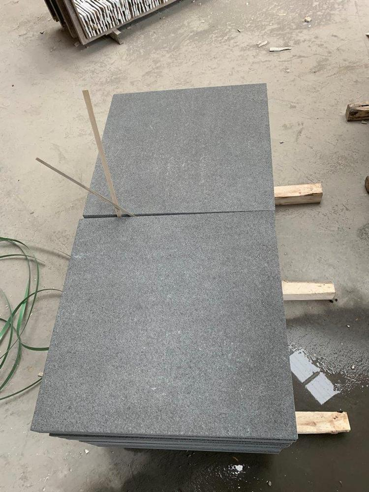 Black Sawn Granite Pavers (Flamed Top)